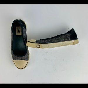 Ugg Neema Loafers 8 Gray Fabric Plaid Canvas Soft